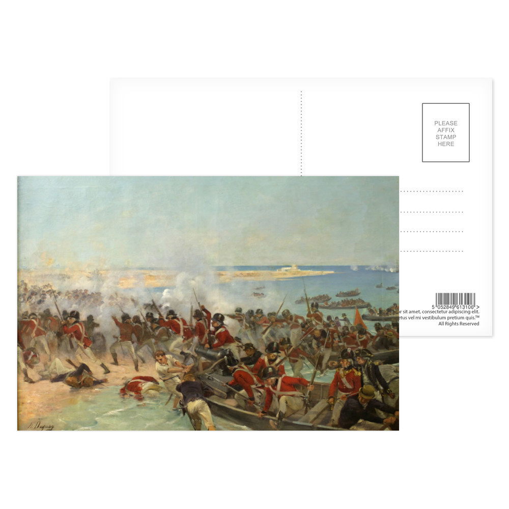 oil, Marines landing at Aboukir, Egypt,  8th March 1801 by Henri Dupray. Postcard (x8)