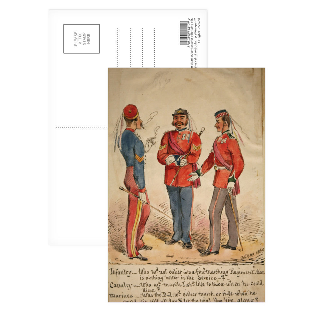 Infantry, Cavalry and Marines Discussion 1869 Postcard (x8)