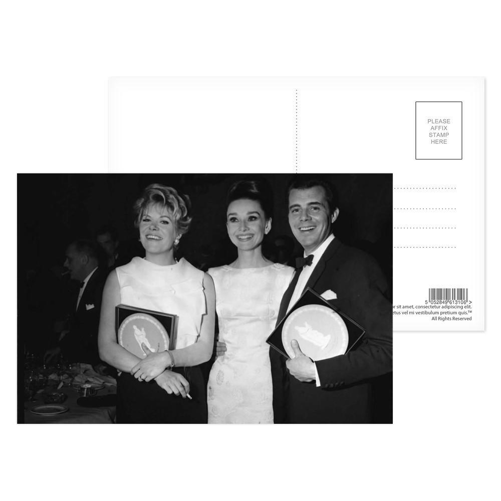 'Rachel Roberts, Audrey Hepburn and Dirk Bogarde' Postcard (x8)