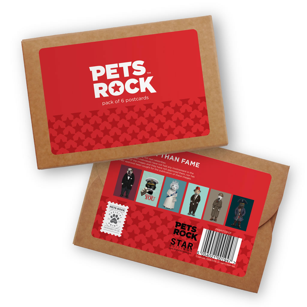 Set of 6 Pets Rock Postcard Sets - British Collection 1