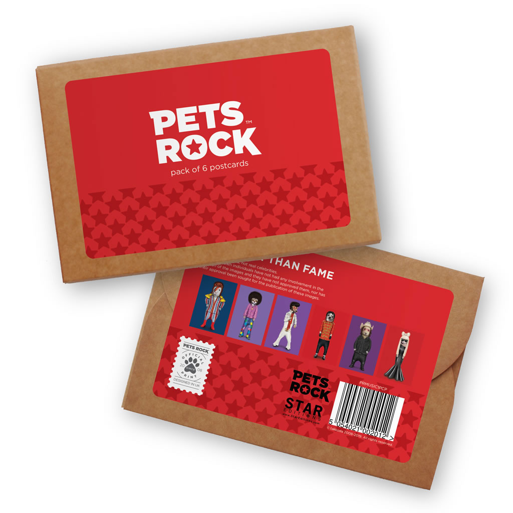 Set of 6 Pets Rock Postcard Sets - Music Collection 1