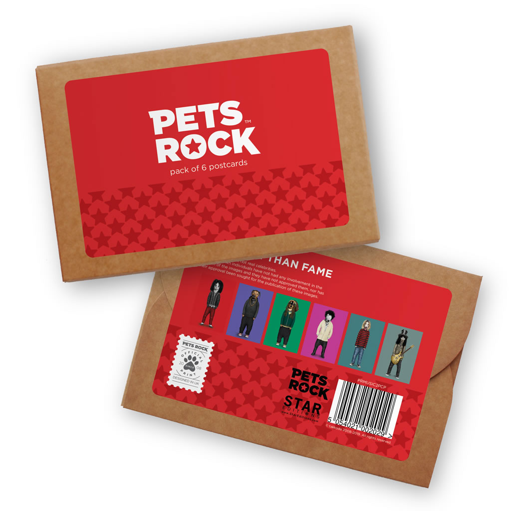 Set of 6 Pets Rock Postcard Sets - Music Collection 2