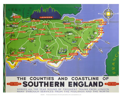 Worksheet. Counties and coastline of southern england map British railways