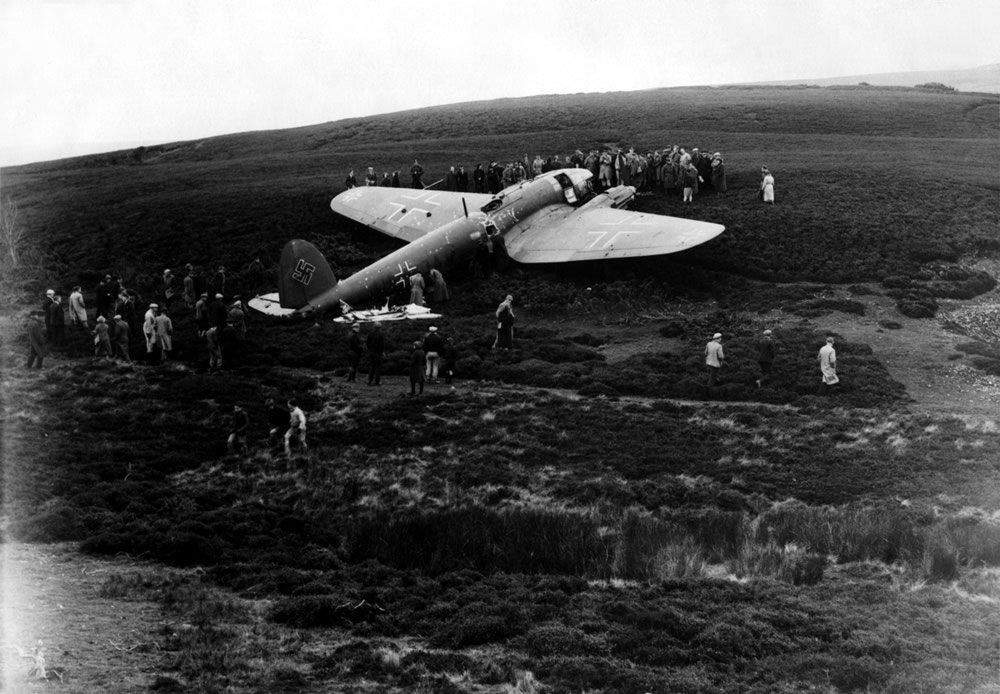 A German Heinkel He 111 medium bomber aircraft, shot down near Edinburgh Art Print