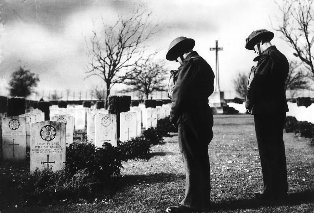 Armistice Day in French war cemetery, 1939 - Art Print Art Print