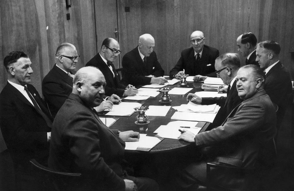 Board of Directors of Liverpool FC, April 1964. Left to right: SC Reakes,.. Art Print