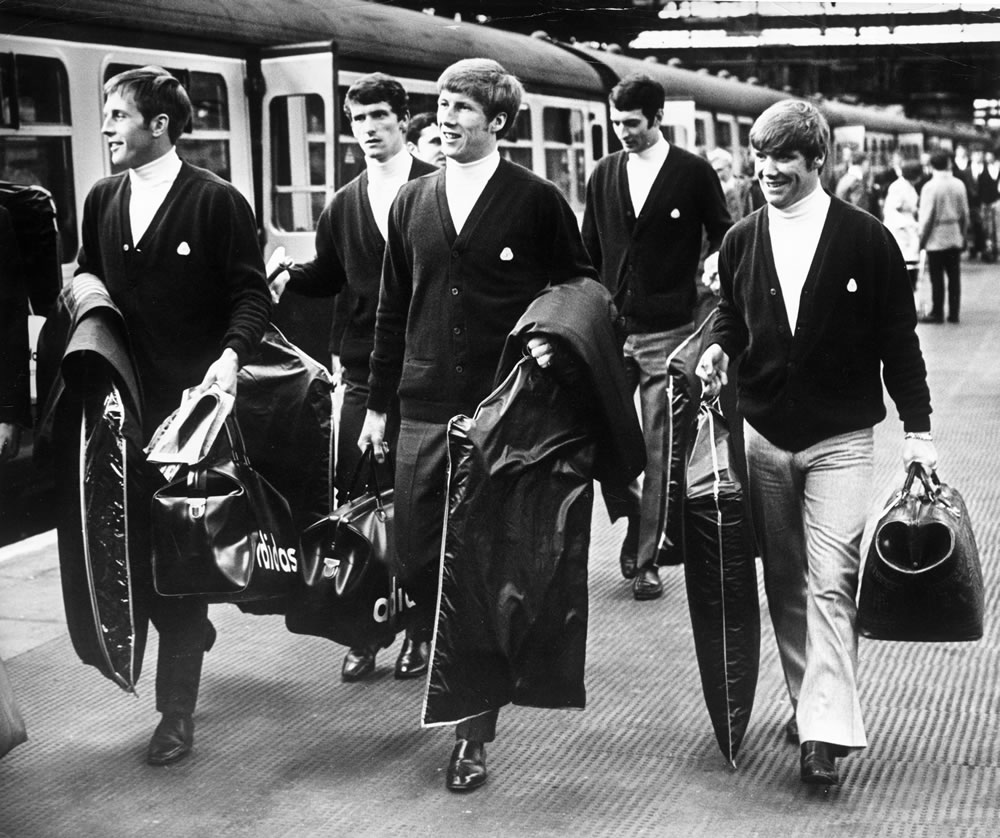 Manchester City players about to board.. Art Print