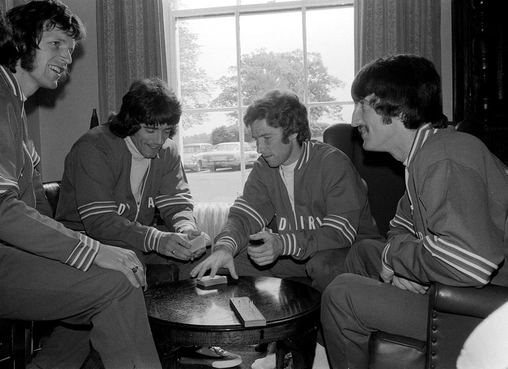 England football team playing cards.  Kevin Keegan and Alan Ball play a.. Art Print