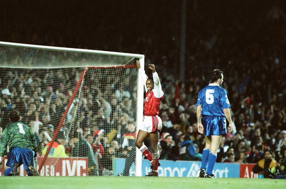 Arsenal 4 v. Everton 2. Ian Wright.. Art Print