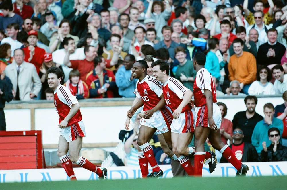 Arsenal 4 v. Liverpool 0. Anders Limpar.. Art Print