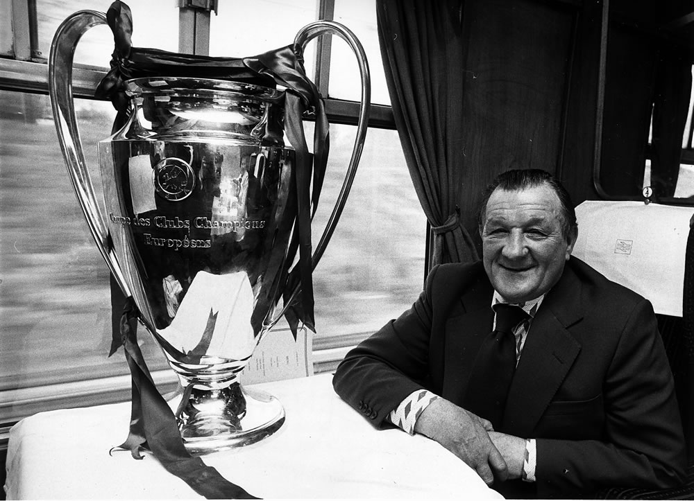 Bob Paisley on the train with European Cup. May 1978. Art Print