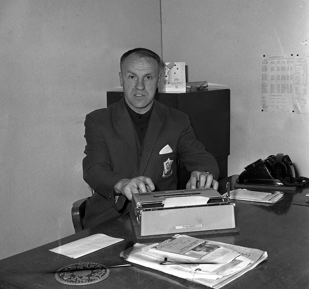 Bill Shankly the Liverpool Football manager in his office at the ground Art Print
