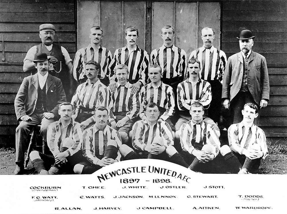 1897-98 Newcastle United team group photograph. United's successful squad.. Art Print