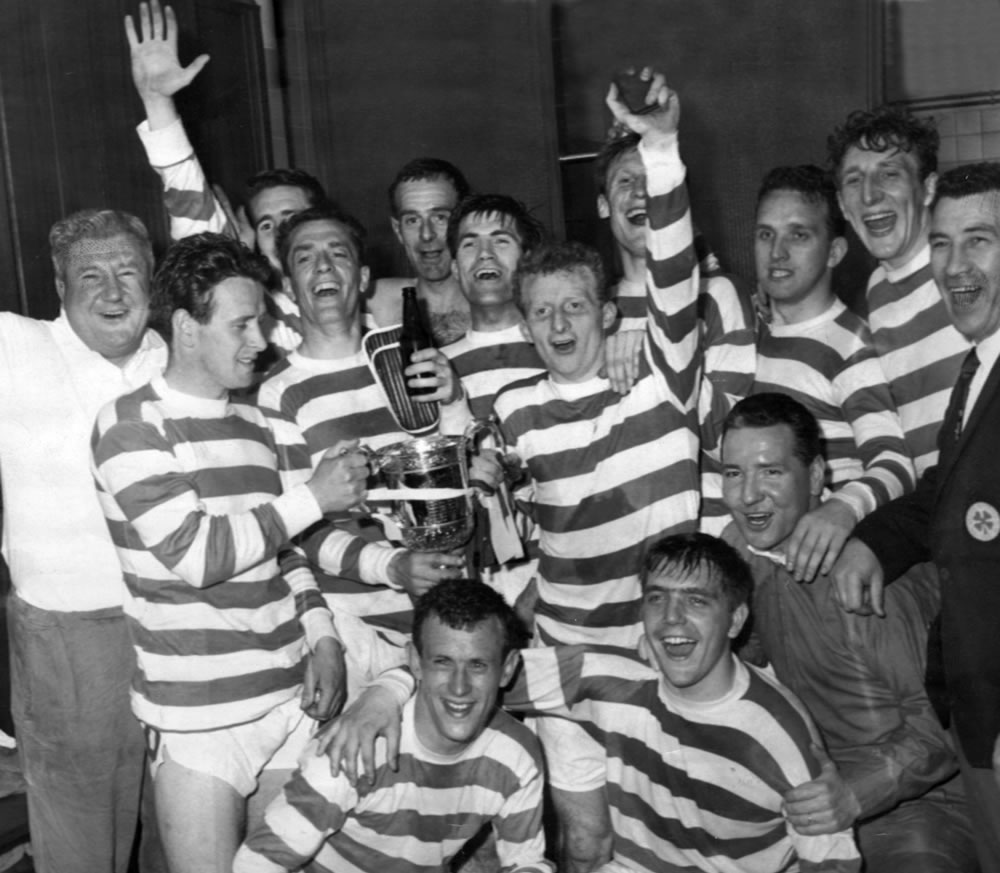 Victory celebrations for Celtic as they.. Art Print