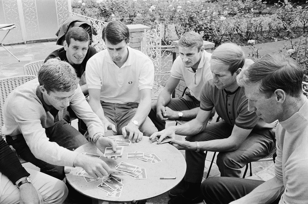 England players enjoy a game of cards.. Art Print