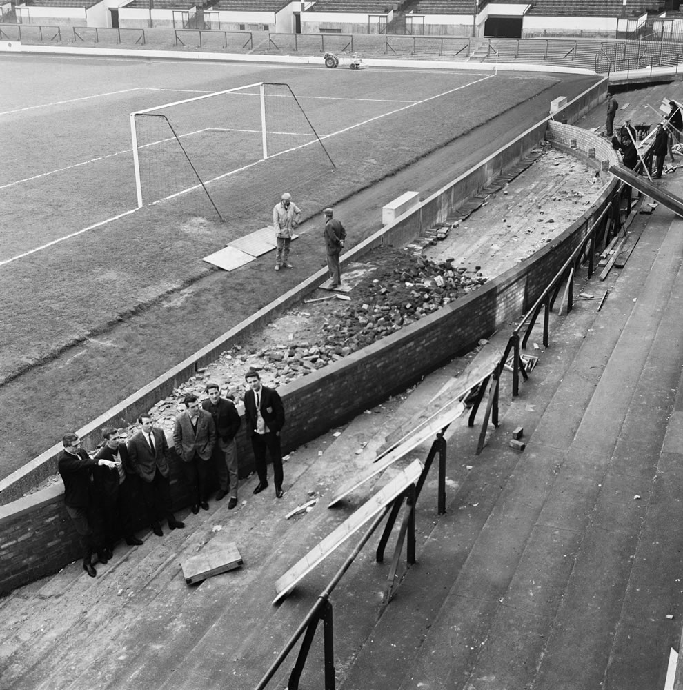 Barricades come down and a wall is erected at Goodison park, home of.. Art Print