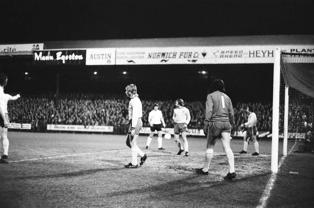 Action from the 1974 League Cup semi-final. Norwich City 1-1 Wolverhampton.. Art Print