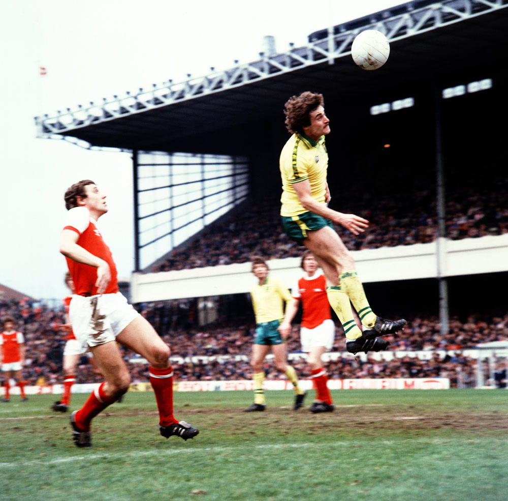 Arsenal v Norwich. Jimmy Neighbour goes up. 28th April 1978. Art Print
