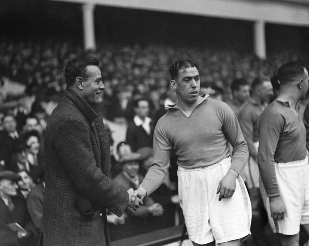 Dixie Dean, the legendary Everton centre forward, being introduced to.. Art Print