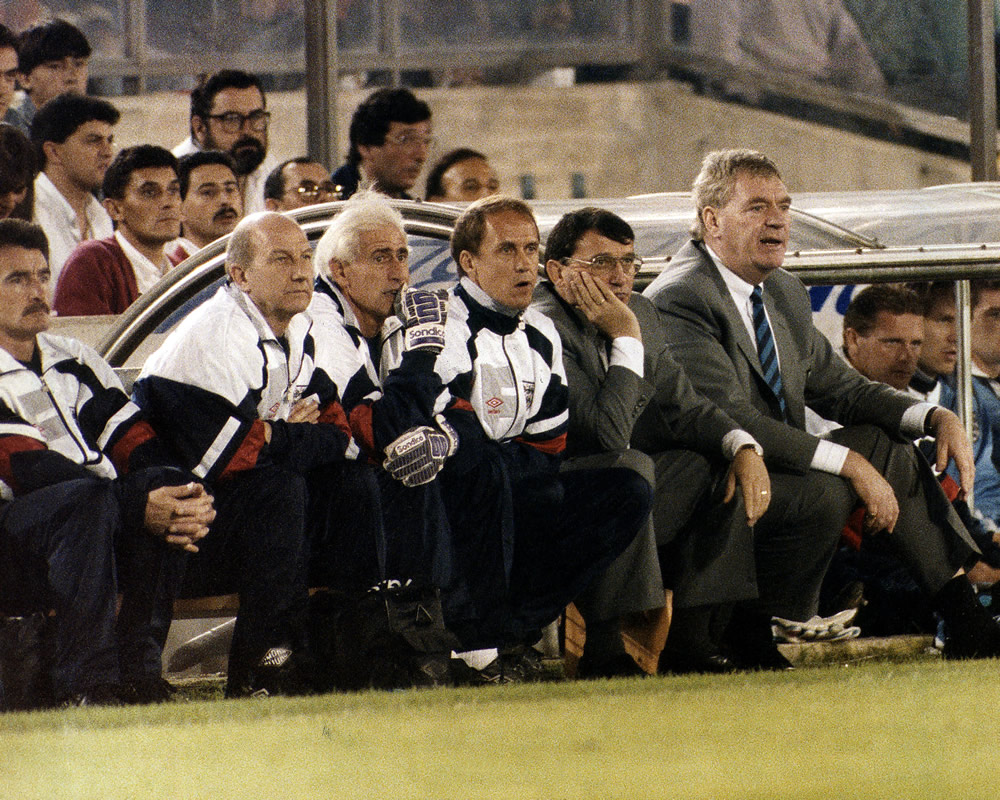 England manager Graham Taylor watches England lose in Santander Spain.. Art Print