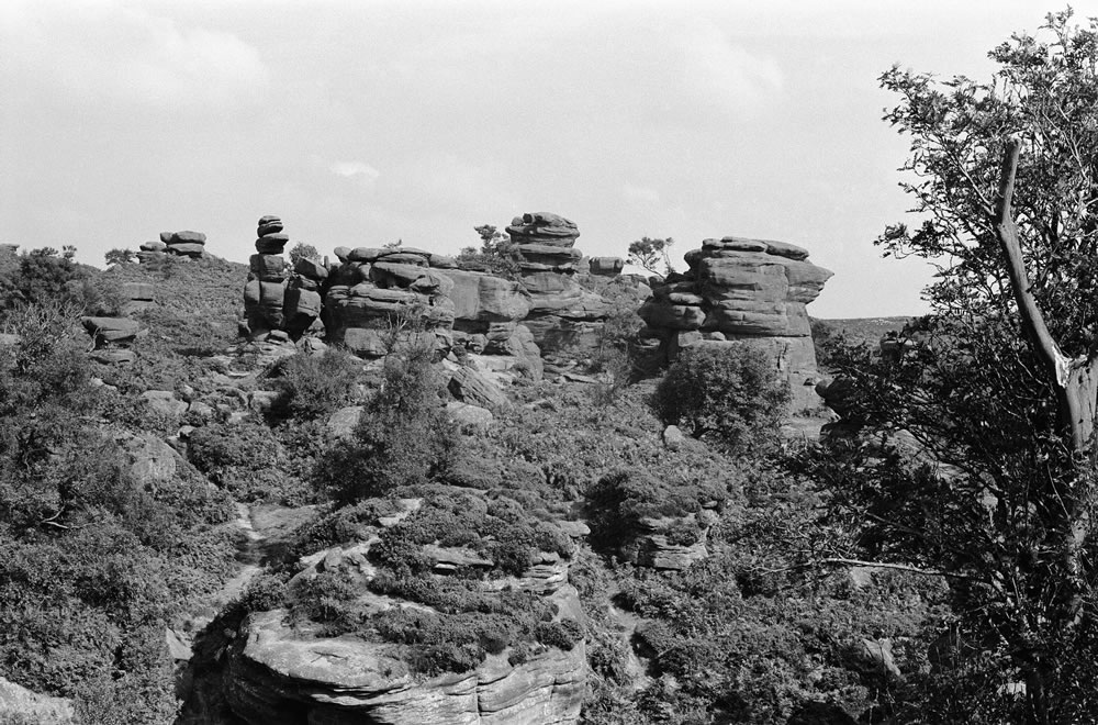Brimham Rocks, the balancing rock.. Art Print