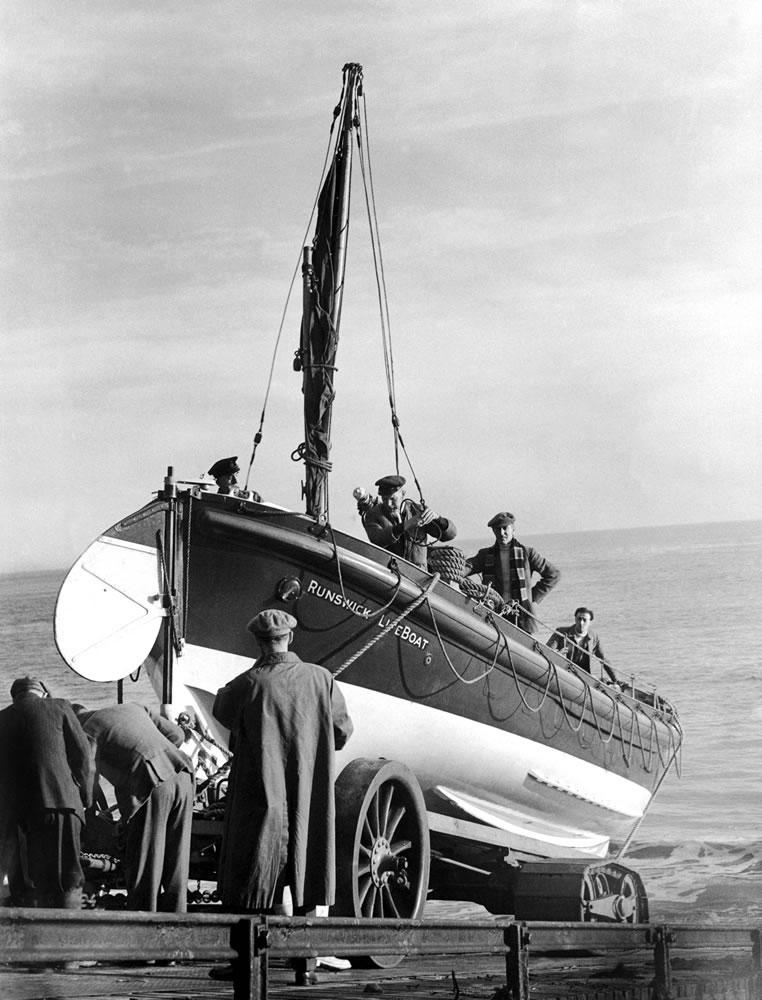 A lifeboat at Runswick. November 1951. Art Print