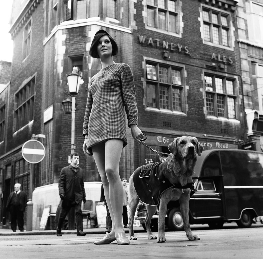 Model, Nicky Smith, with Mod Dog.. Art Print