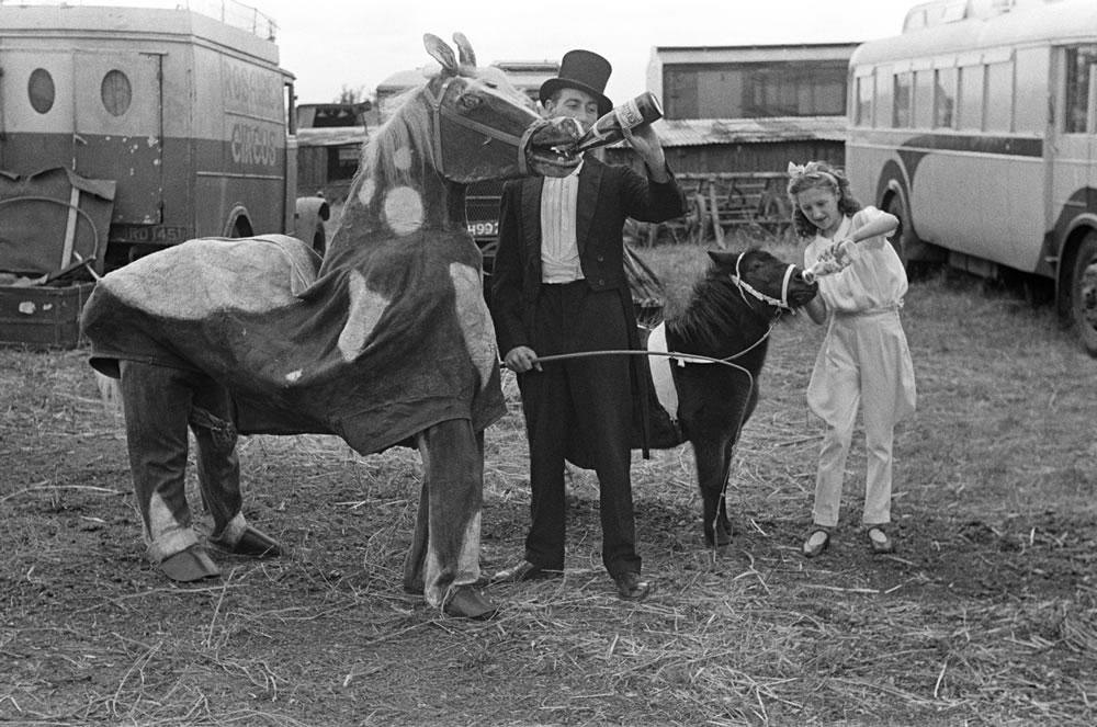 Backstage at a Circus, November 1947. Art Print
