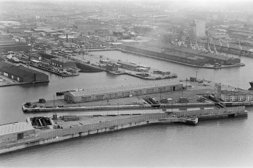 Aerial view of Liverpool Docks,.. Art Print