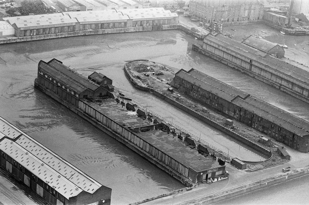 Aerial view of Liverpool Docks,.. Art Print