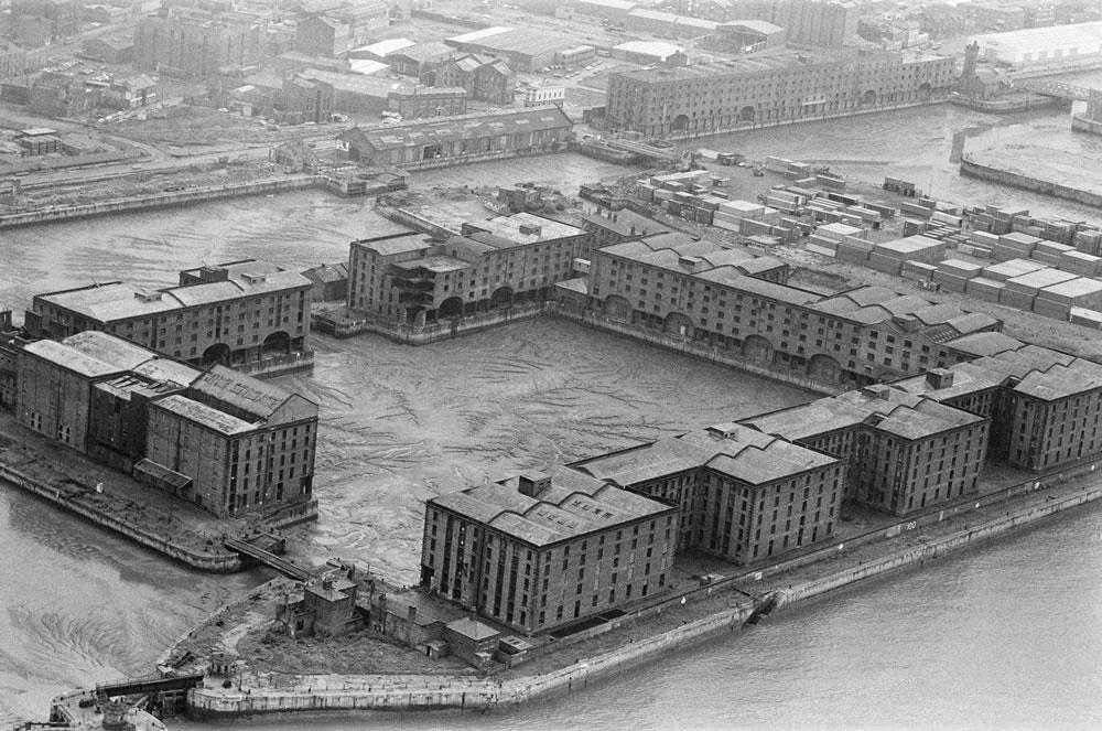 Aerial view of Albert Dock, Liverpool,.. Art Print