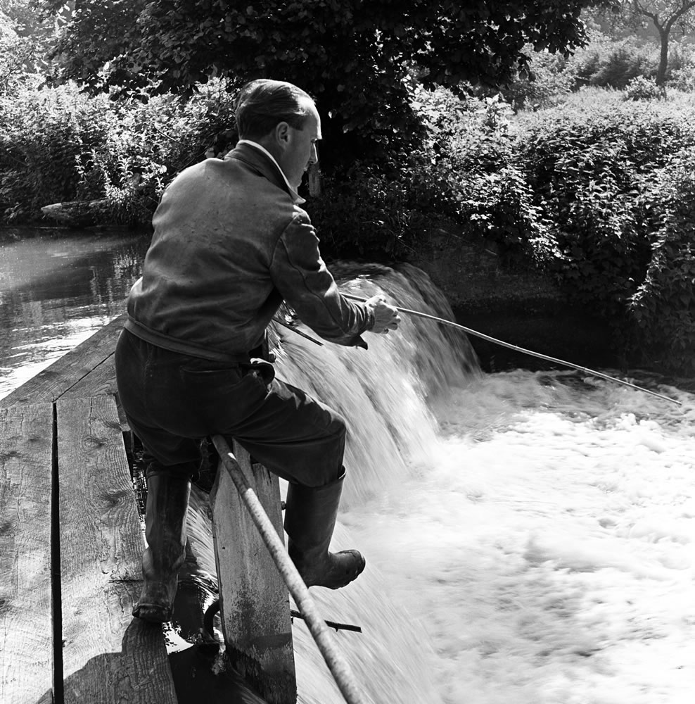 A man fishing in the River Gade in.. Art Print
