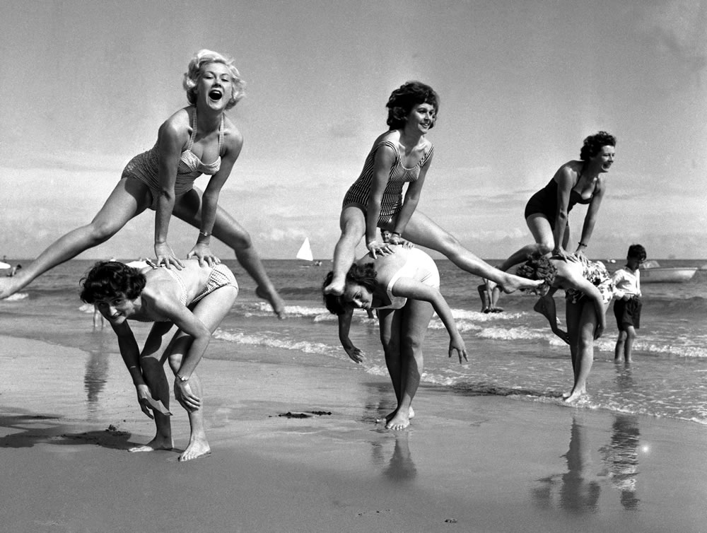 Beauty contest girls playing on the.. Art Print