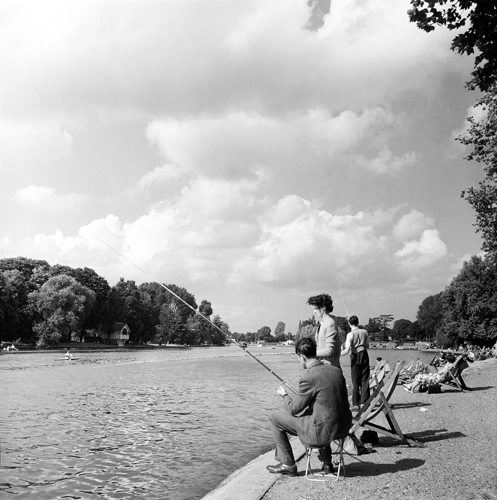 Fishing on the river Thames at Kingston, London (formerly Surrey), August.. Art Print