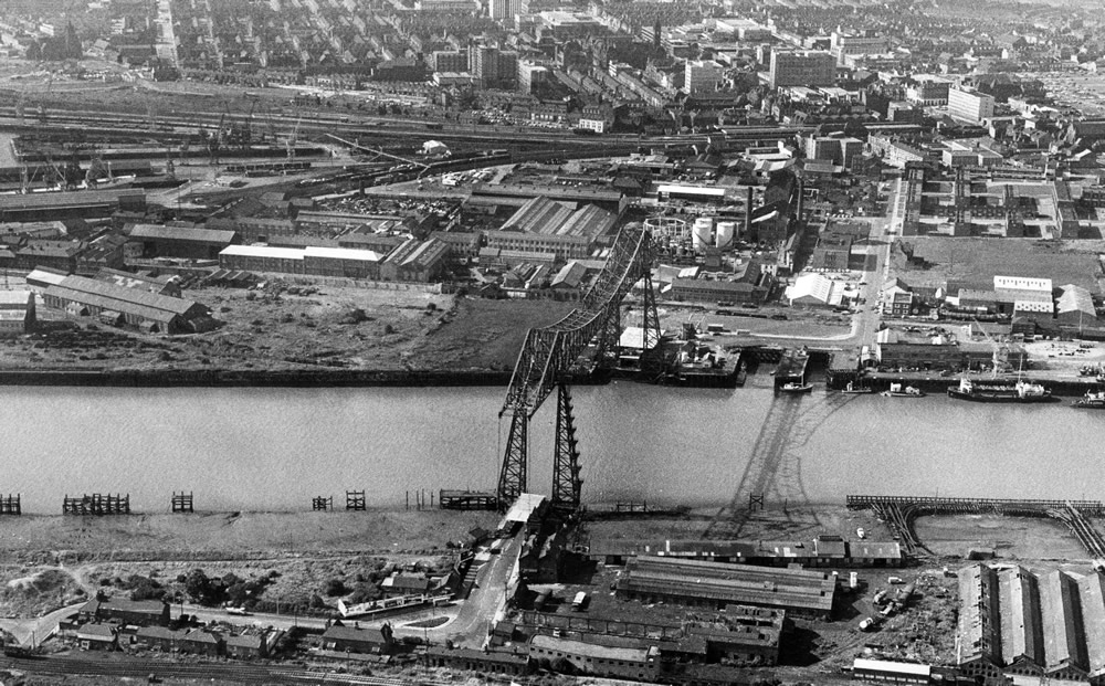 Aerial view of The Tees Transporter Bridge, Middlesbrough, North.. Art Print