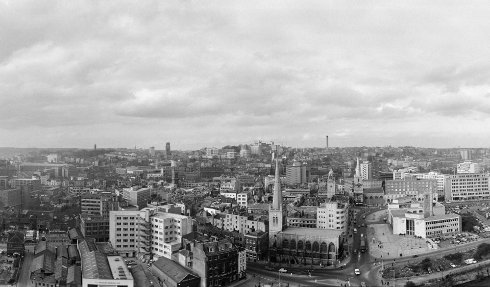 View of view of Bristol from the roof of the E.S. & A. Robinson & Son building. 1st March 1967. Art Print