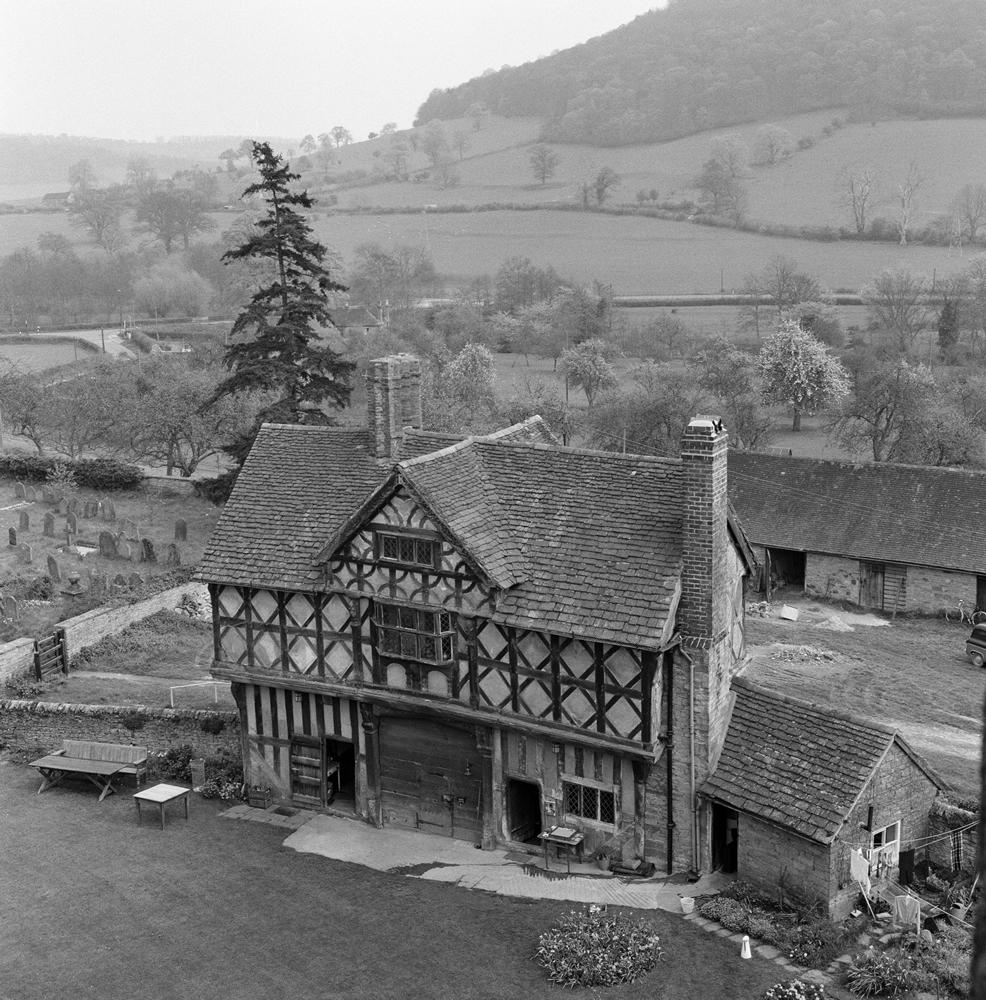 The gatehouse at Stokesay Castle in Stokesay, Shropshire. 21st April 1961. Art Print