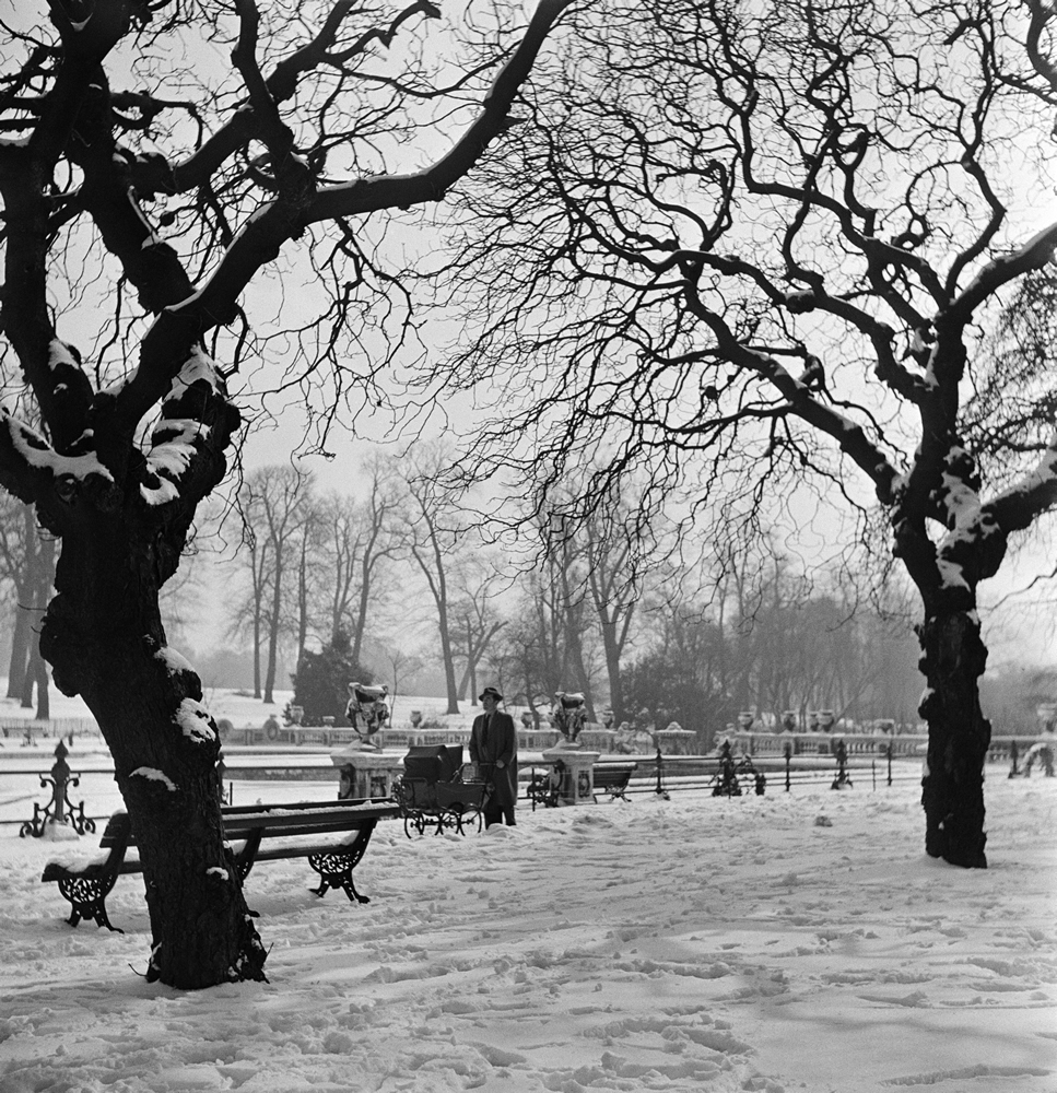A man pushing a pram through Hyde Park in London. Circa 1953. Art Print