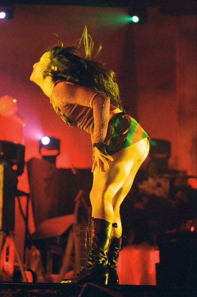 Backing dancer performing on stage Art Print