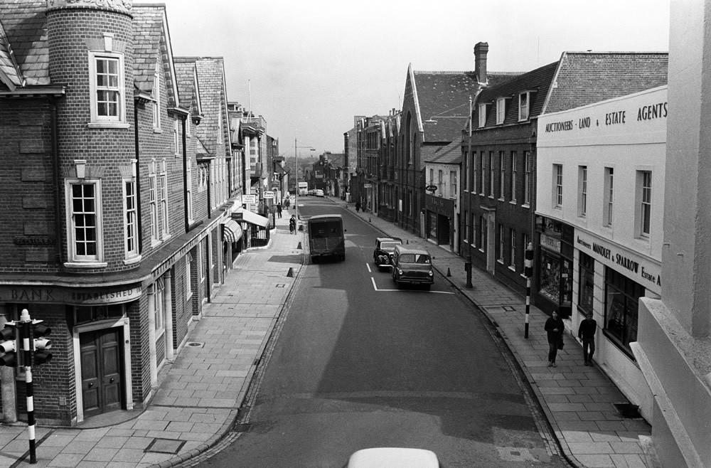 Victoria Street in St Albans, Hertfordshire, 1961. Art Print