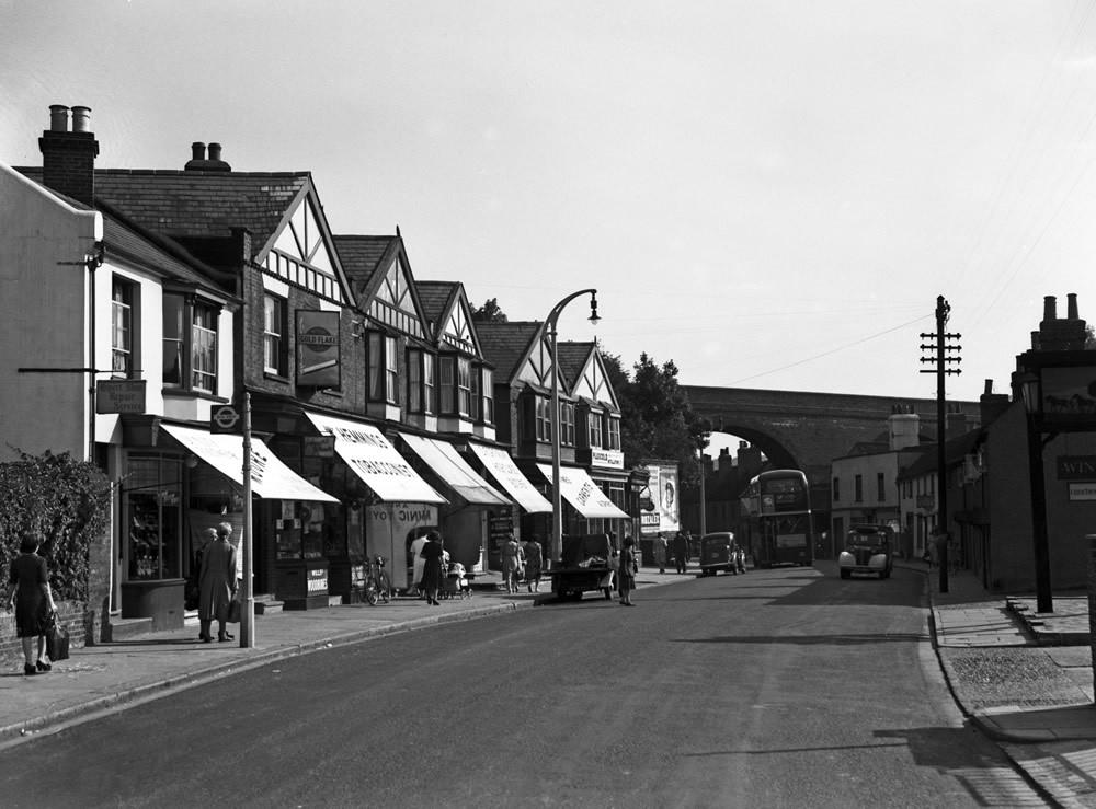 Marlowes street scene in Hemel Hempstead, Hertfordshire, 1949. Art Print