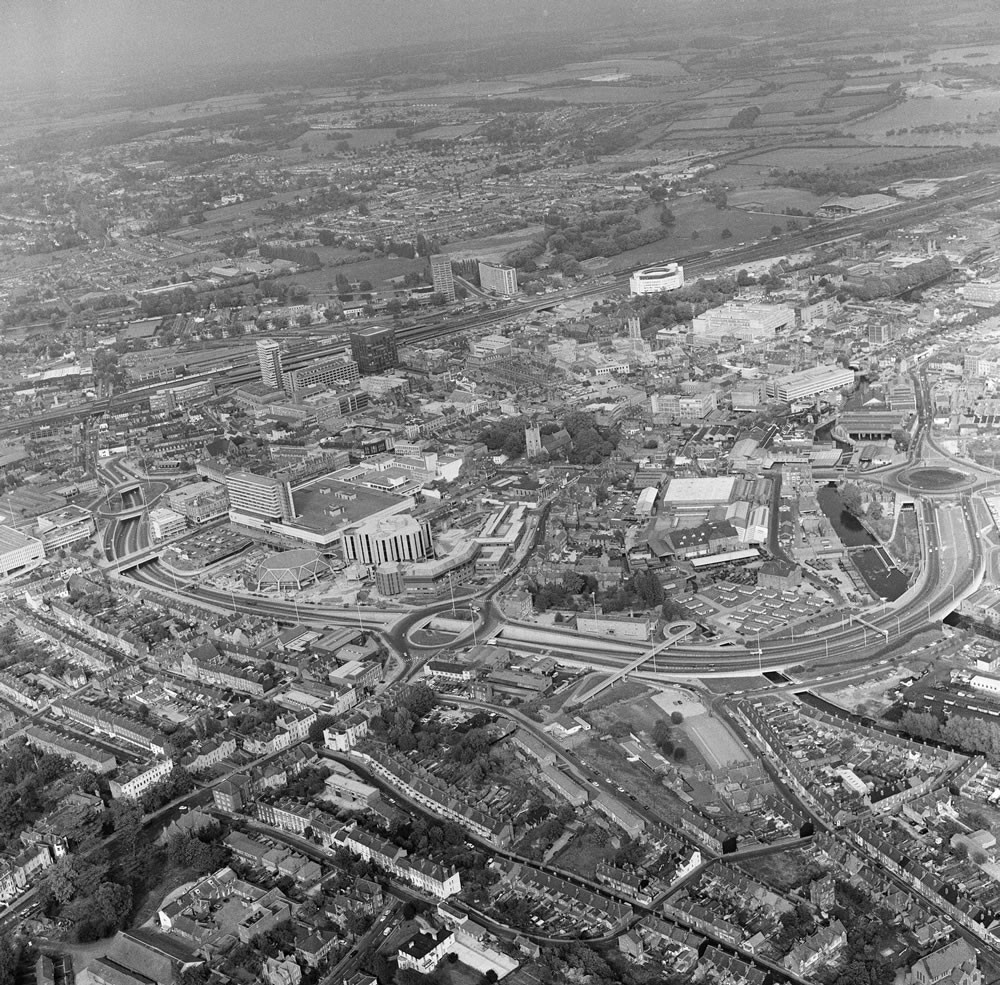 Aerial Views of Reading, Berkshire, 1976. Art Print