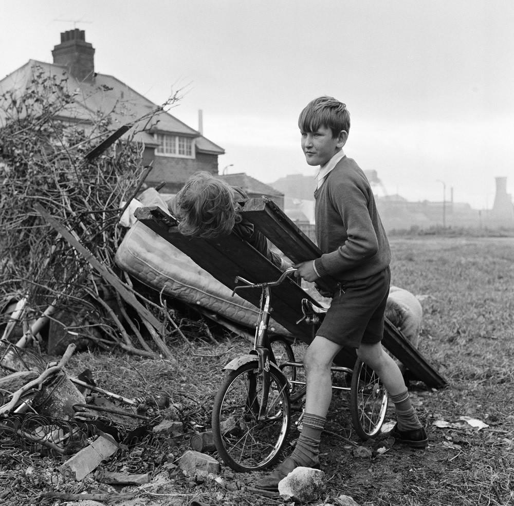 Children Building a Bonfire, Teesside, 1971.  Art Print
