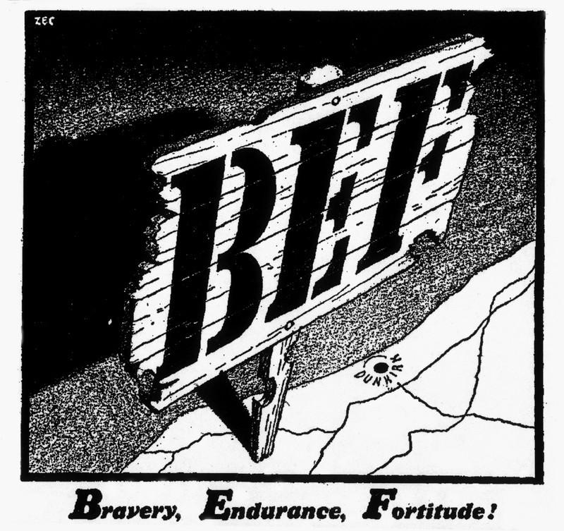 Bravery, Endurance, Fortitude!' cartoon, May 1940 Art Print Art Print