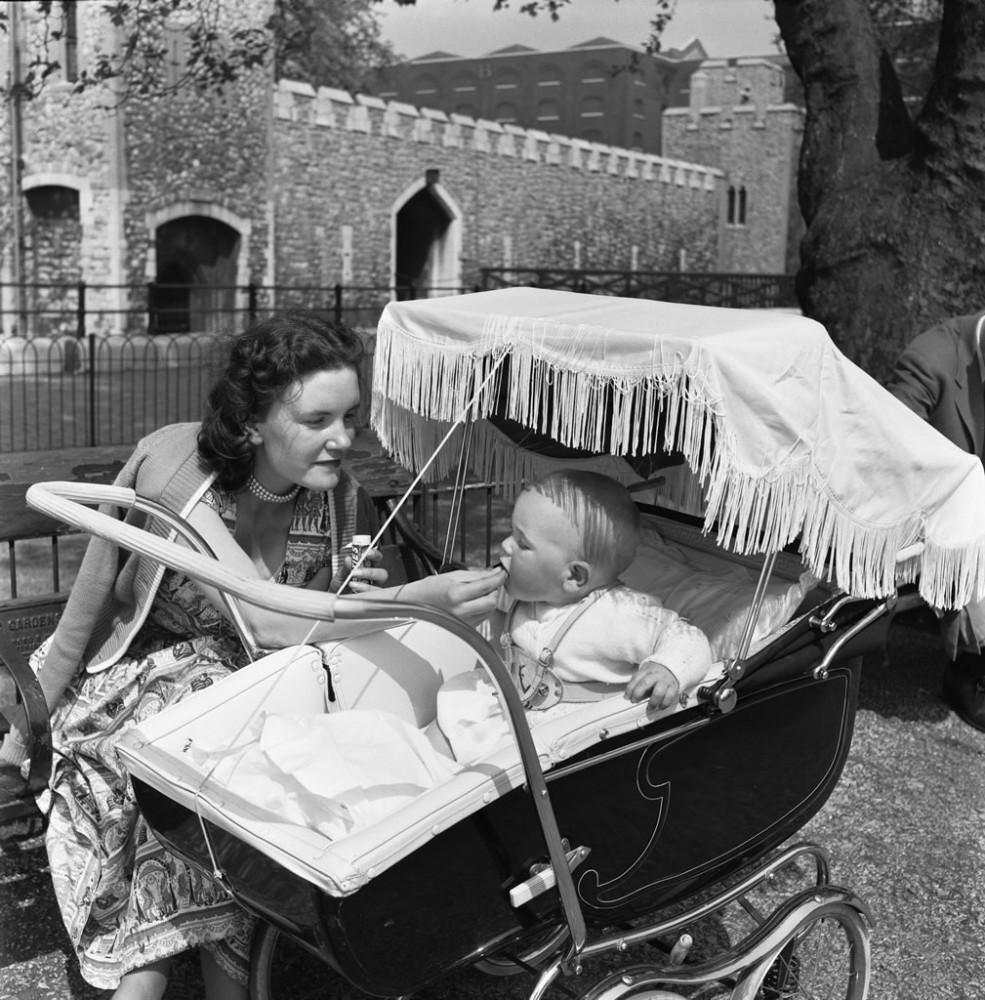 Baby in pram, 1955 - Art Print Art Print - Vintage Photos Online