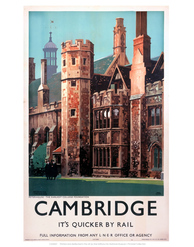 Cambridge it's Quicker by Rail - Peterhouse Art Print  Art Print