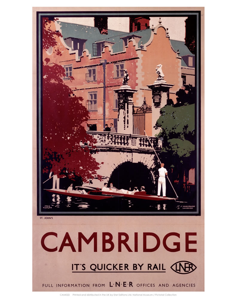 Cambridge it's Quicker by Rail - Punting  Art Print