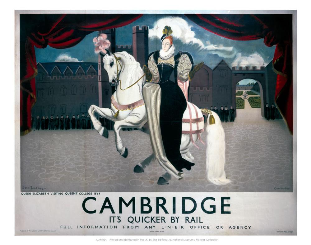 Queen Elizabeth on Horse Visiting Cambridge Art Print
