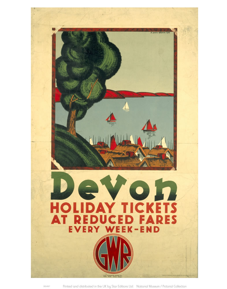 Devon Holiday Tickets at Reduced Fares Art Print  Art Print