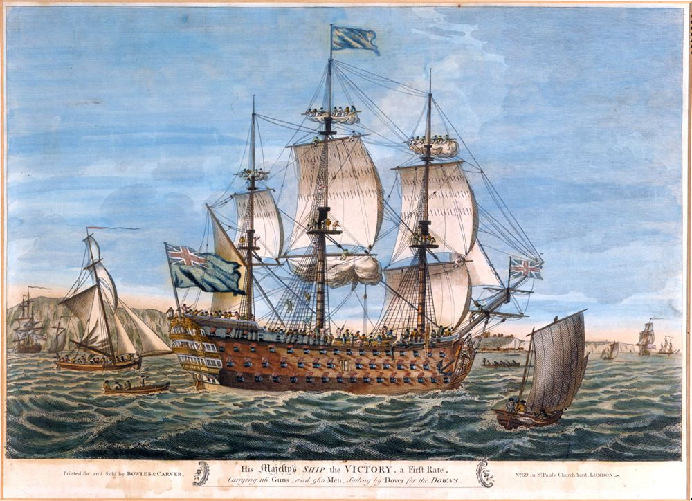 His Majestys Ship the Victory, a First Rate, Carrying 116 Guns and 960 Men, Sailing by Dover for the Downs Art Print